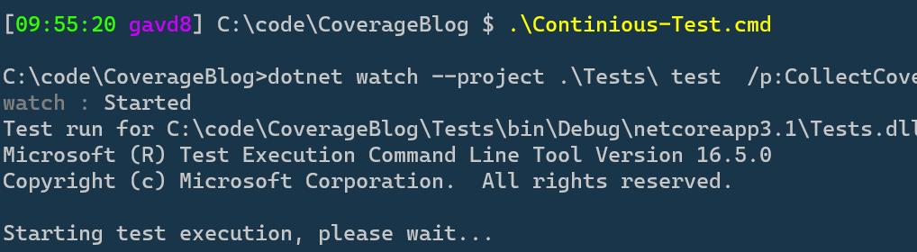Watch Test Terminal