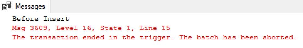 SSMS Trigger Rollback Error