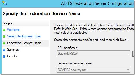 AD FS Certificate