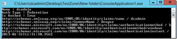 Image showing claims in a console app